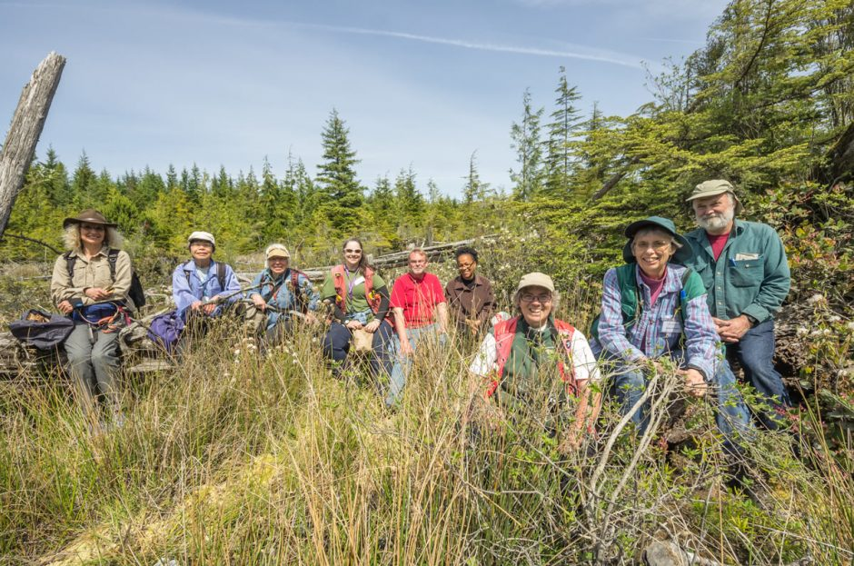 Group at wetland near junction of Back & Mitchell Bay Road., Malcolm Island.   Photo by Darryl Luscombe