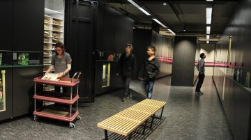 Panoramic view of the herbarium. You can see a female researcher looking at plants. Three male visitors look at the cabinets and walk through the space