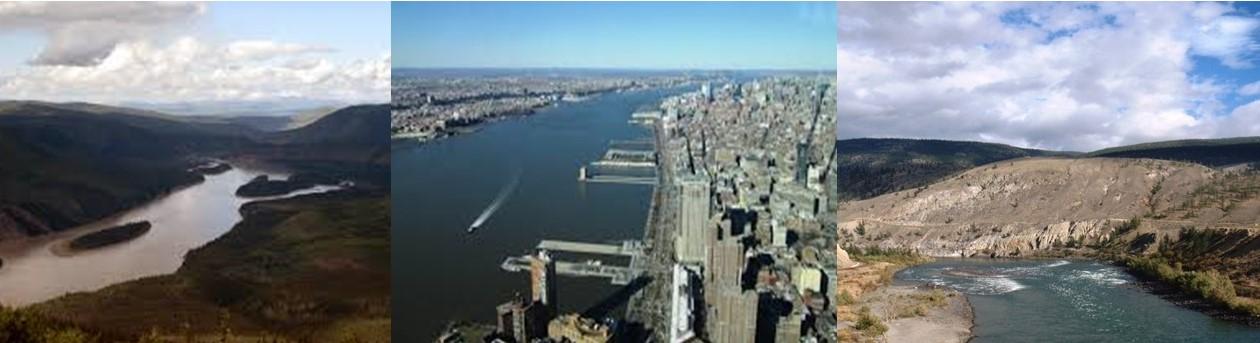 Three overhead views of rivers